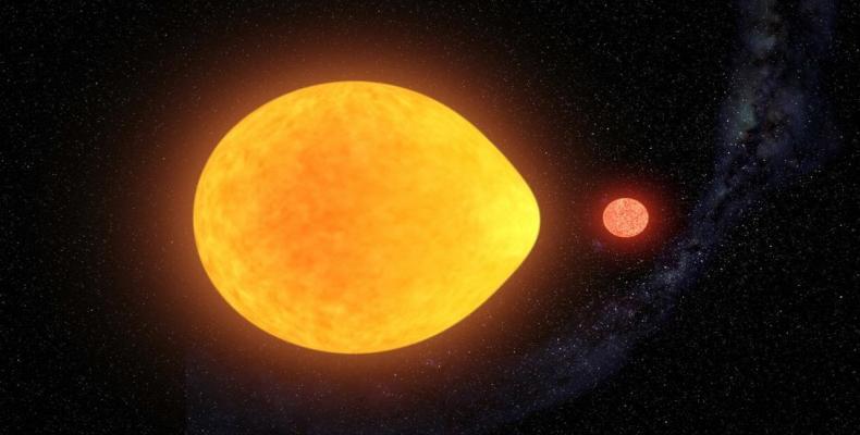 Recreación artística de una estrella pulsando en uno de sus hemisferios debido a la atracción gravitatoria de una estrella compañera. Instituto de Astrofísica d