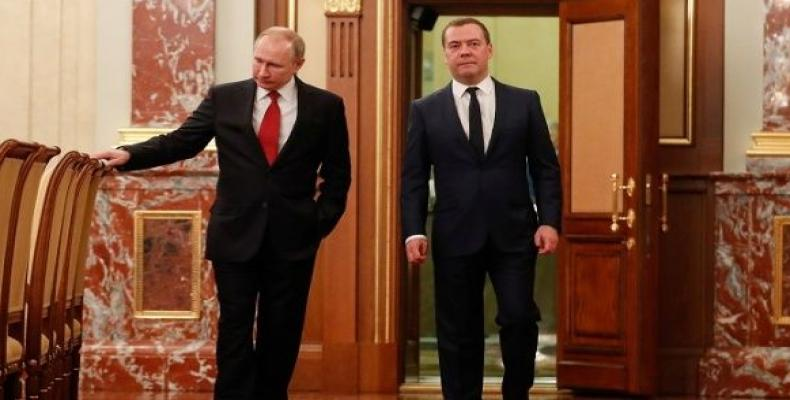 President Vladimir Putin and Prime Minister Dmitry Medvedev in Moscow. Jaunary 15. (Photo: Reuters)