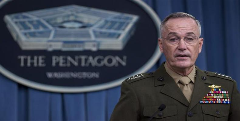 Chairman of the U.S. Joint Chiefs of Staff Marine General Joseph Dunford speaks during a press briefing at the Pentagon in Washington, DC.  File photo: AFP