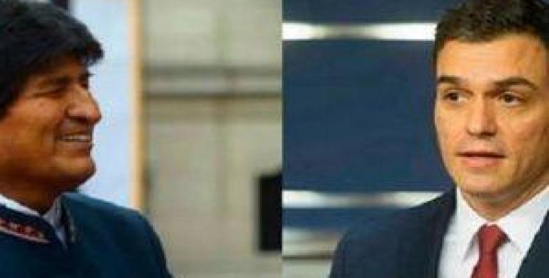 Evo Morales y Pedro Sánchez