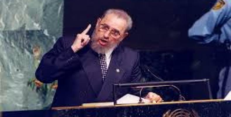 Fidel Castro durante uno de sus discursos en la Onu