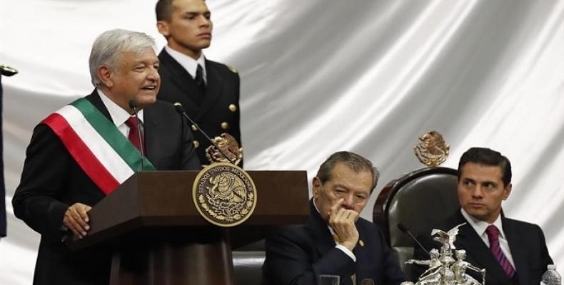 Mexican President Andres Manuel Lopez Obrador addresses the nation after swearing-in.  Photo: teleSUR