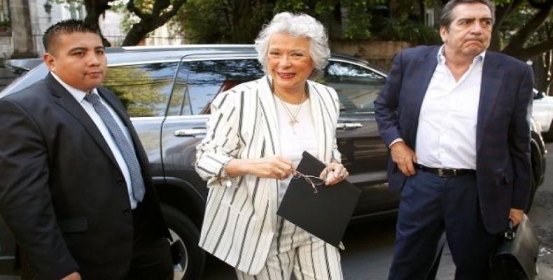 Olga Sanchez Cordero, designated Interior Minister of Mexico's President-elect Andres Manuel Lopez Obrador, arrives to the campaign headquarters in Mexico City,