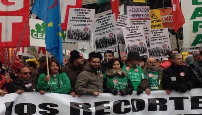 Miles de personas participaron en una manifestación en España contra la criminalización del derecho de huelga