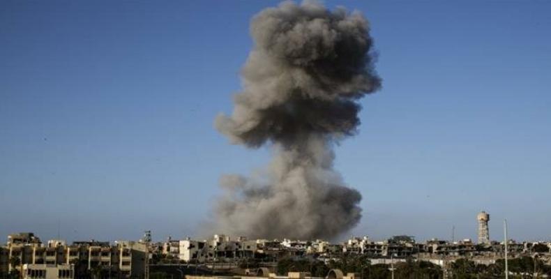 Smoke rising after a U.S. airstrike in Sirte, Libya.  (Photo: AFP)
