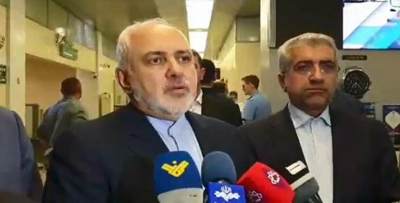 Iranian Foreign Minister Mohammad Javad Zarif speaking to reporters upon arrival in Moscow on September 1, 2019