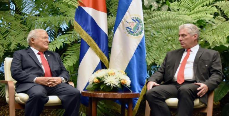 Cuban President Miguel Díaz-Canel receives Salvadorian counterpart Salvador Sánchez Cerén