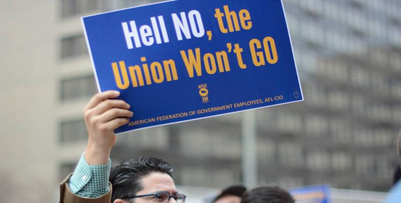 Trade union demonstration in U.S. capital.  Photo: AP