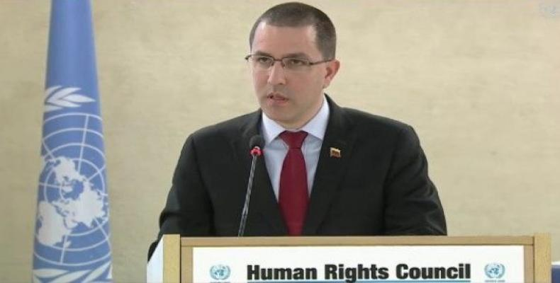 In Geneva, Venezuela's Foreign Minister Jorge Arreaza called for solidarity against interventionism.  Photo: Twitter / @CancilleriaVE