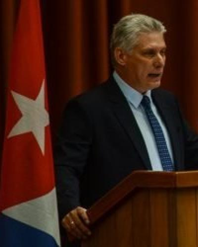 Cuban President Miguel Diaz-Canel addresses teachers and educators from around the world.  Photo: CubaDebate