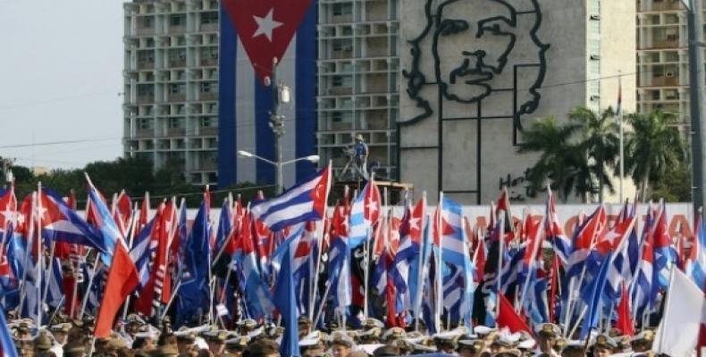 Fiesta de los trabajadores en la Plaza de la Revolución, de La Habana. Foto: Archivo