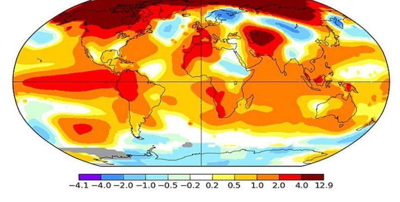 Enero del 2016 ha sido el más cálido de todos los eneros registrados, con un promedio récord de 1,3 °C. (NASA GISS)