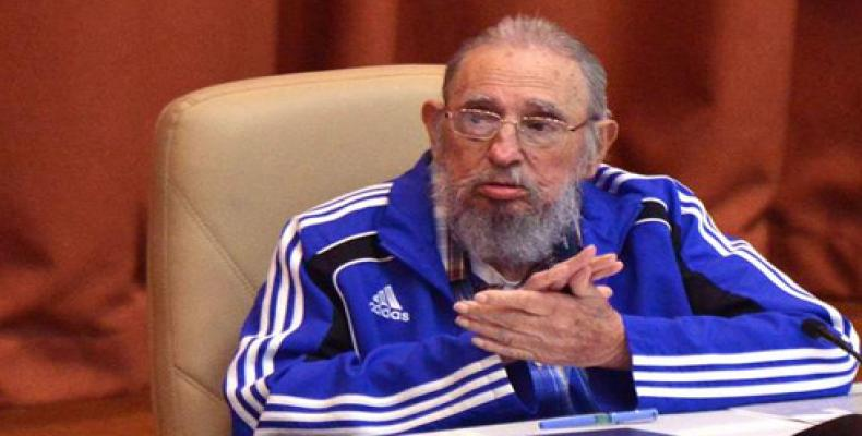 Fidel Castro Ruz, during Tuesday's closing session of the 7th Congress of the Communist Party of Cuba