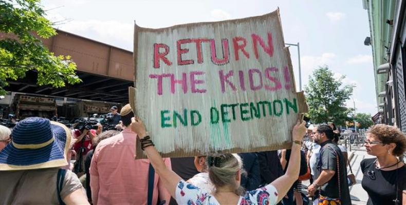 Migrant children still separated from parents.   Photo: AFP