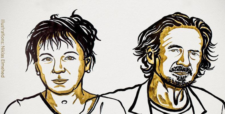 Los escritores Olga Tokarczuk y Peter Handke. The Nobel Prize on Twitter