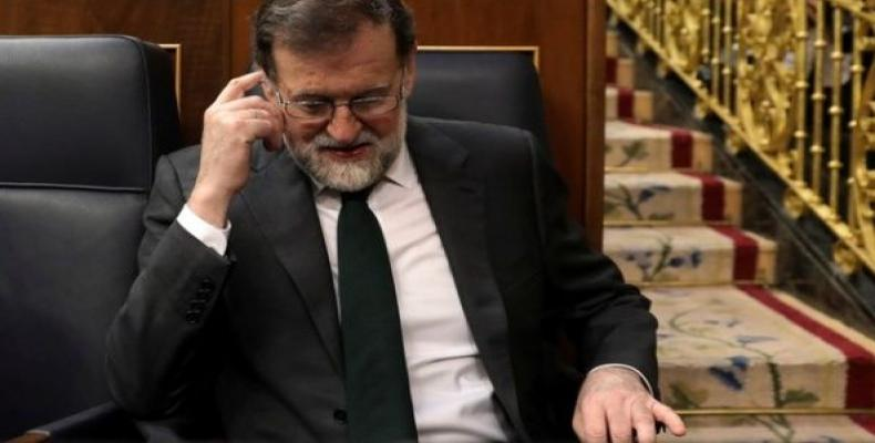 Mariano Rajoy takes his seat at Parliament before the vote on a no confidence motion in Madrid, Spain.  Photo: Reuters