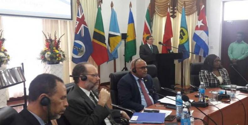 Rodríguez se refirió al intercambio sobre prácticas internacionales contra riesgos de desastres naturales. Foto: Twitter