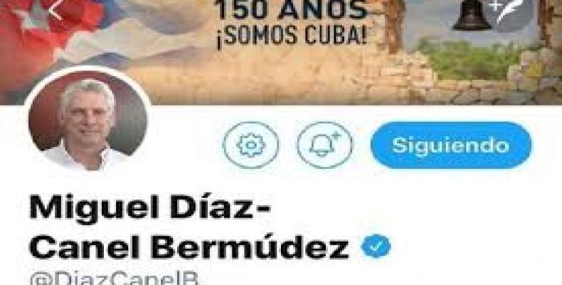 Cuban President Miguel Diaz-Canel tweets to stop U.S. aggression against Venezuela.  Photo: Twitter