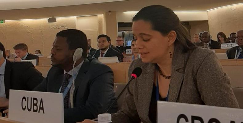 The Cuban delegate to the United Nations in Geneva, Lisandra Astiasarán.