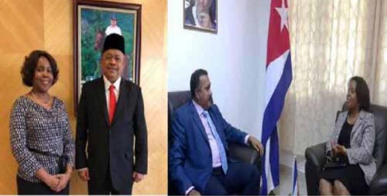 Embajadora cubana y dirigentes malayos. Foto: Cubaminrex