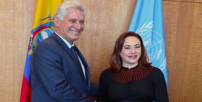 Satisface a María Fernanda Espinosa recibir a Díaz-Canel en su oficina de Naciones Unidas. Foto: PL