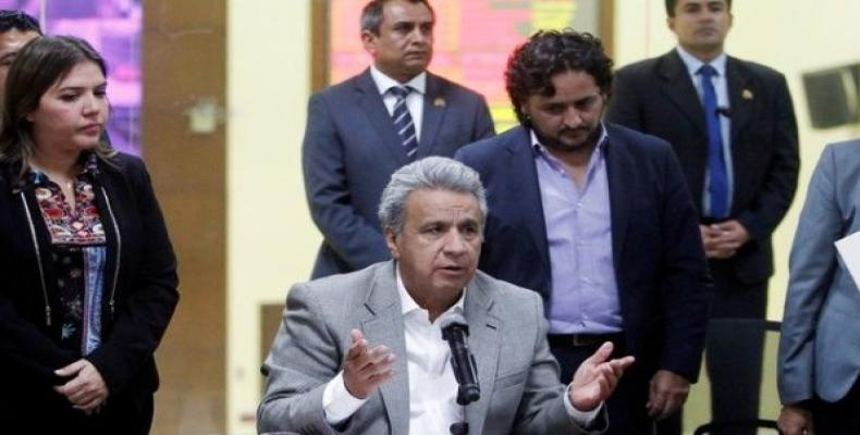 Ecuador's President Lenin Moreno gives a news conference after two Ecuadorean journalists and their driver were killed after being kidnapped in March.  Photo: R