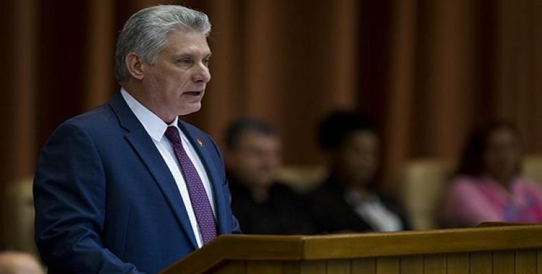 President Miguel Diaz-Canel delivers closing address to session of the Cuban Parliament, December 22, 2018. Cubadebate Photo