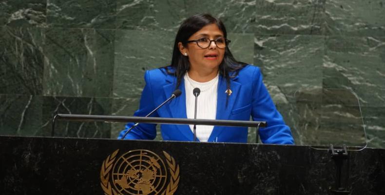 Delcy Rodriguez addresses UN General Assembly. (Photo: teleSUR)