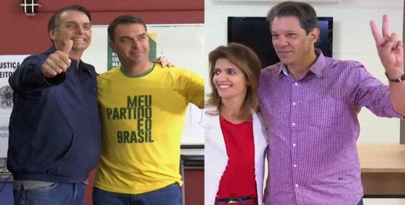 A combination of file photos shows presidential candidates Jair Bolsonaro and Fernando Haddad.  Photo: Reuters
