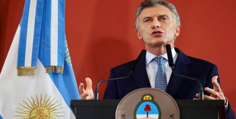 Argentina's President Mauricio Macri speaks during a ceremony at the Casa Rosada Presidential Palace in Buenos Aires.  Photo: AFP