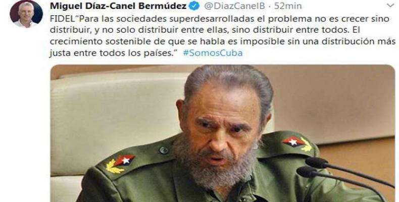 Miguel Díaz-Canel Bermúdez, evocó las palabras del líder de la Revolución, Fidel Castro. Foto: PL.