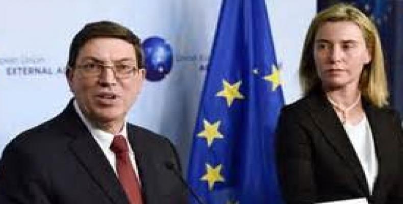 Bruno Rodríguez y Federica Mogherini en anterior reunión