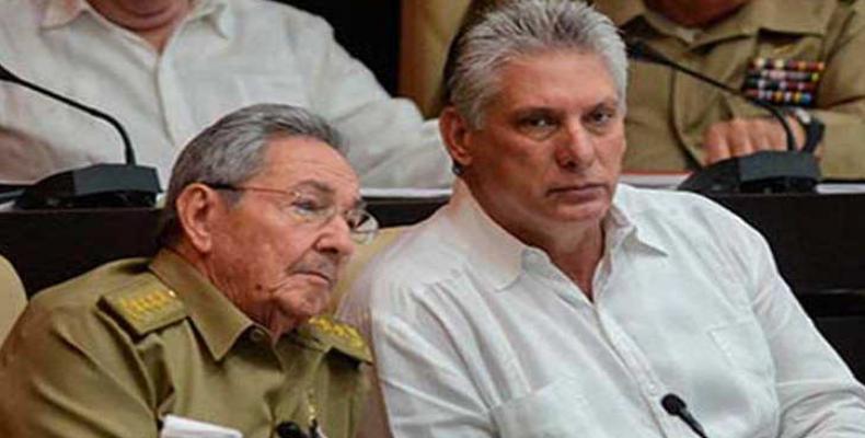 Primer secretario del Partido Comunista de Cuba, Raúl Castro, y el presidente Miguel Díaz-Canel.Foto:Archivo.