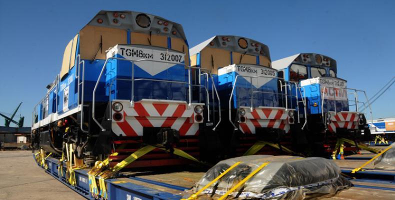 Lote de locomotivas russas chega a Cuba.