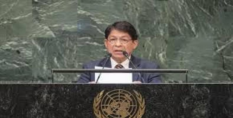Nicaraguan foreign minister at United Nations.  Photo: El Nuevo Diario