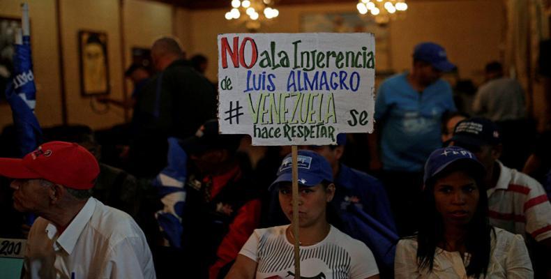 Protestantes en marcha contra la injerencia de la OES en Venezuela. Foto: Internet