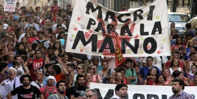 Manifestación contra gobierno de Macri