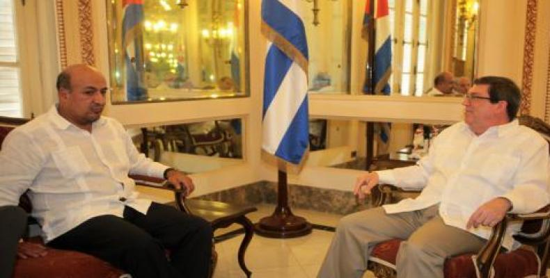 Foreign Minister Bruno Rodríguez (left)  received Mexican Undersecretary of State for Latin America and the Caribbean Maximiliano Reyes Zúñiga.