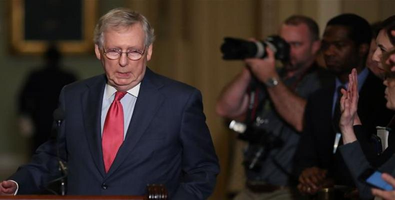 U.S. Senate Majority Leader Mitch McConnell, a Republican from Kentucky, speaks to the media after attending a Senate Republican policy luncheon on June 12, 201