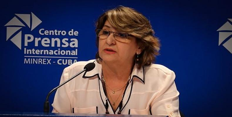 The president of the National Electoral Commission, Alina Balseiro Gutierrez. Cubadebate Photo