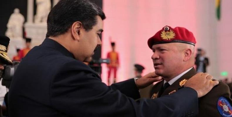 Nicolas Maduro during a military ceremony promoting members of the armed forces.   Photo: EFE