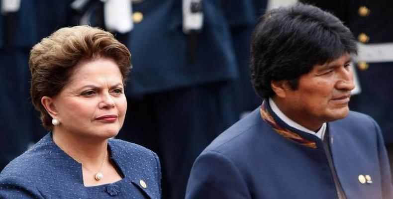 Presidente de Bolivia, Evo Morales, y su homóloga de Brasil, Dilma Rousseff