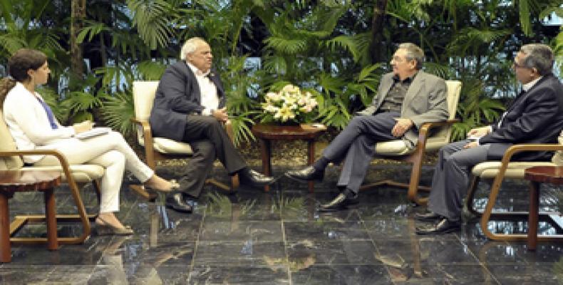 Ambos dirigentes intercambiaron opiniones sobre diversos temas de la actualidad regional e internacional. Foto: Estudios Revolución