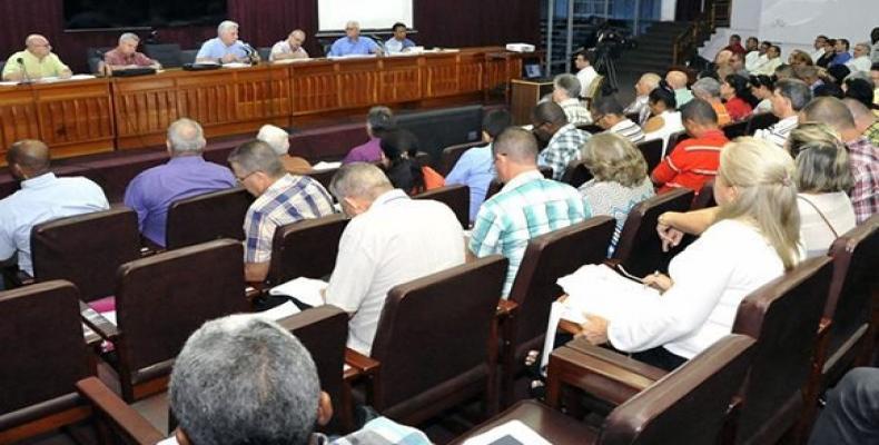 Reunión resumen de la visita gubernamental a Pinar del Río.Foto:Estudios Revolución.