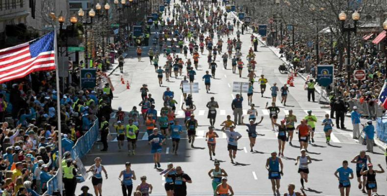 Corredores durante el Maratón de Boston de 2014. AFP