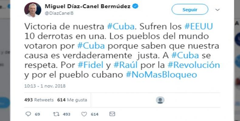 Cuban President thanks the world for support against the blockade