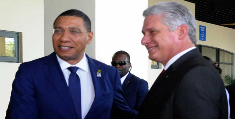 Cuban president Miguel Díaz-Canel had a packed agenda that included meetings with the Prime Minister of Jamaica, Andrew Holness. Photo: PL