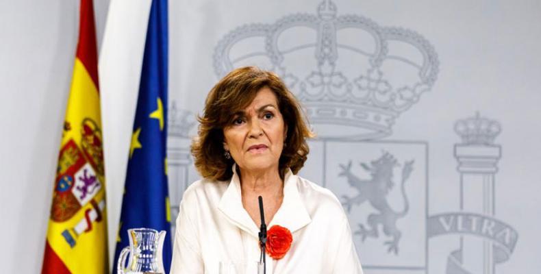 'Toca explorar otras situaciones para evitar elecciones', asegura Carmen Calvo, la vicepresidenta del Ejecutivo en funciones.(Foto:PL)