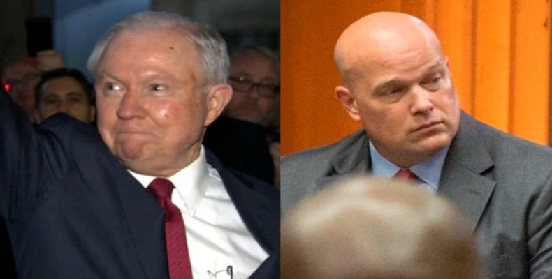 Fired attorney general Jeff Sessions and Matthew Whitaker.  Photo: Press TV