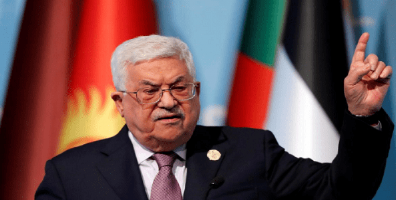 Palestinian President Mahmoud Abbas speaks during a news conference following the extraordinary meeting of the Organization of Islamic Cooperation (OIC) in Ista